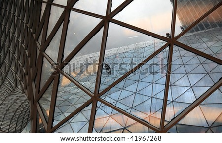 Cleaning windows at the MyZeil Shopping Center in Frankfurt