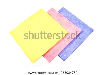 Cleaning wipes kitchen sponge isolated on white - stock photo