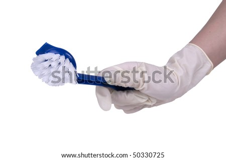 Cleaning with a brush over white background - stock photo
