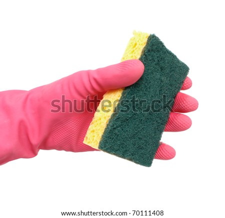 Cleaning with a sponge - stock photo