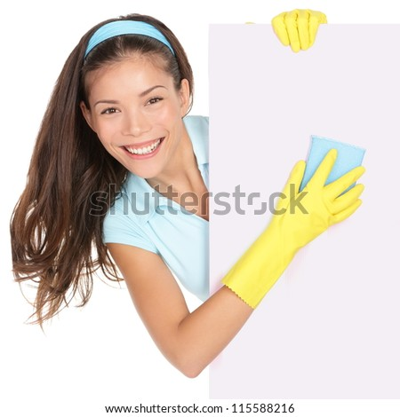 Cleaning woman showing sign poster cleaning isolated on white background. Smiling happy multiracial Chinese Asian / Caucasian cleaning lady - stock photo