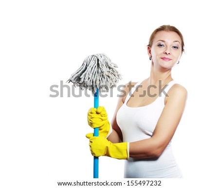 cleaning women holding broom and wearing yellow gloves - stock photo