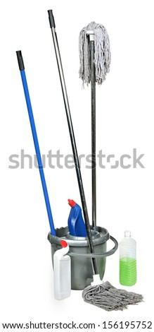 cleanser and to mop a floor . Swab and bucket isolated on white background  - stock photo