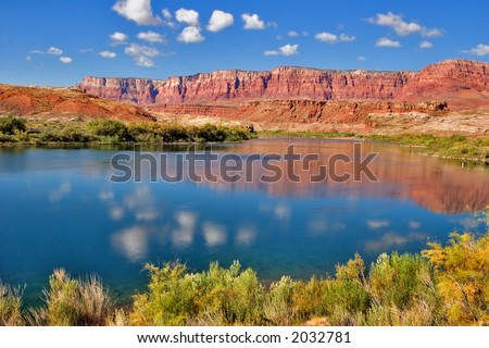 Cleaqr sunny day on Colorado river - stock photo