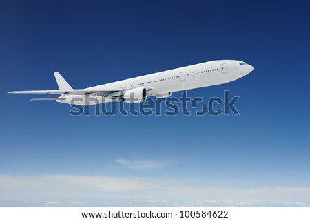 Clear airpcraft in blue sky - stock photo