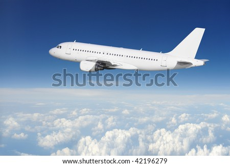 Clear airplane in the sky - stock photo