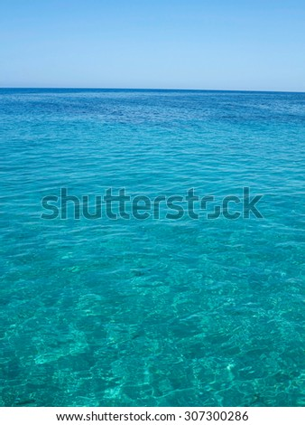 Clear azure sea and blue sky near Crete coast, Greece - stock photo