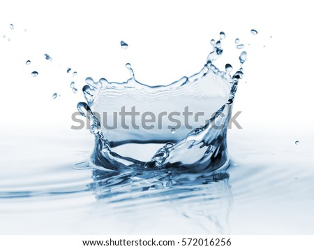 Clear, beautiful splash with drops on the water surface