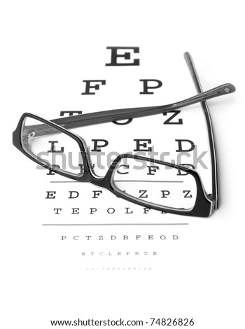 Clear Black modern glasses on a eye sight test chart. Isolated on white background. - stock photo