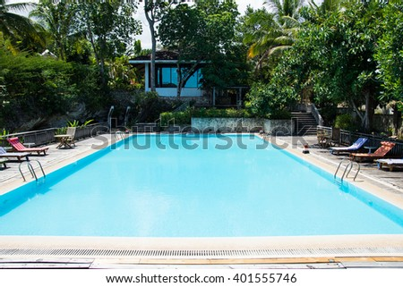 clear blue lap pool across the house