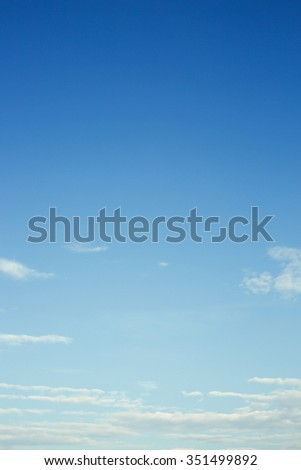 clear blue sky and white cloud background - stock photo
