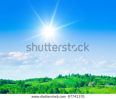 Clear Blue Sky Bright Sunshine - stock photo