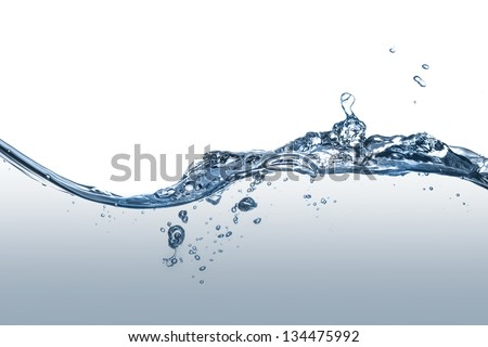 Clear, blue splashing water - stock photo