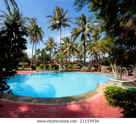 Clear blue water in round swimming pool with palms