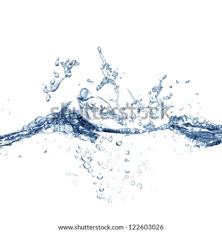 Clear Blue Water Splashing, Ripples and Waves - stock photo
