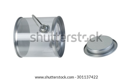 Clear but empty paint bucket used for various projects - path included - stock photo