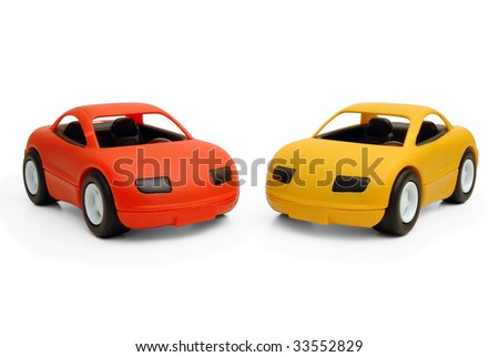 Clear colored small car toy - stock photo