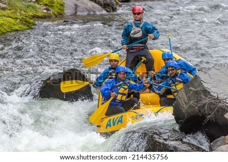 CLEAR CREEK, COLORADO/U.S.A. - August 31, 2014: Late season white water rafting adventure continues on the Clear Creek River just 30 minutes from Denver on August 31, 2014 in Clear Creek, Colorado.