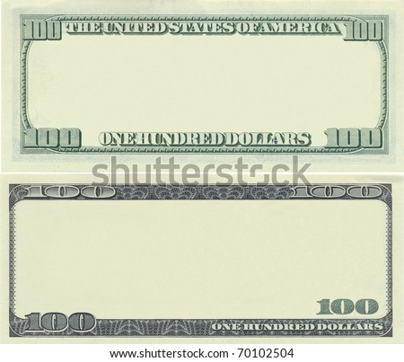 Clear 100 dollar banknote template for design purposes