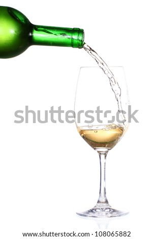 Clear glass and a bottle of white wine