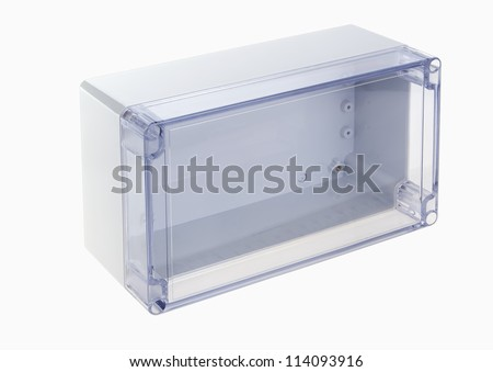 Clear glass box for electricity - stock photo