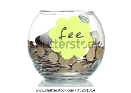 Clear glass jar for tips with money isolated on white. Ukrainian coins - stock photo