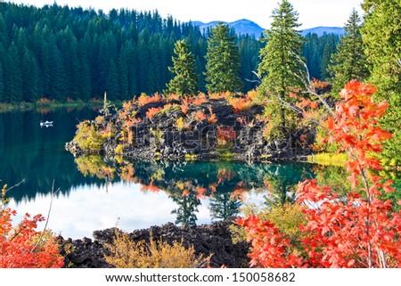 Clear Lake, Oregon, in Autumn Colors - stock photo