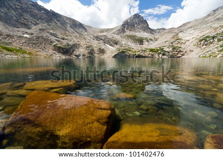 Clear mountain lake landscape in the Colorado Mountains - stock photo