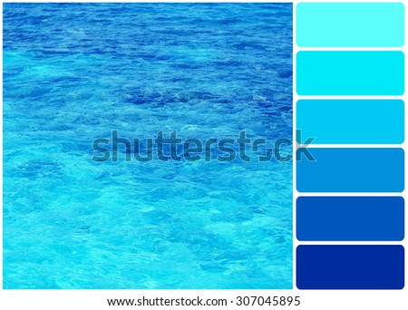 Clear ocean water palette colors stock photo 307045895 for Ocean blue color combinations