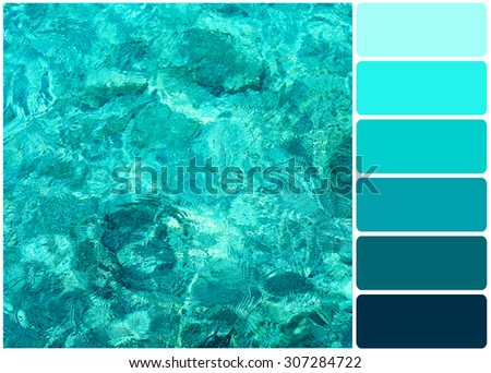 Clear ocean water and palette of colors - stock photo