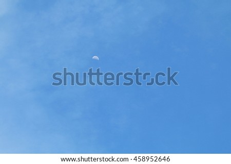clear of blue sky no clound and moon for background - stock photo