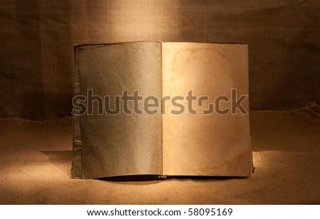 clear open book in dark room - stock photo