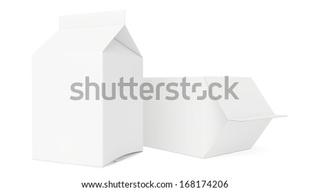 clear packages isolated on white background. 3d render. - stock photo