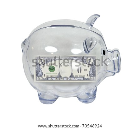 Clear Bank Clear Piggy Bank Used to Save