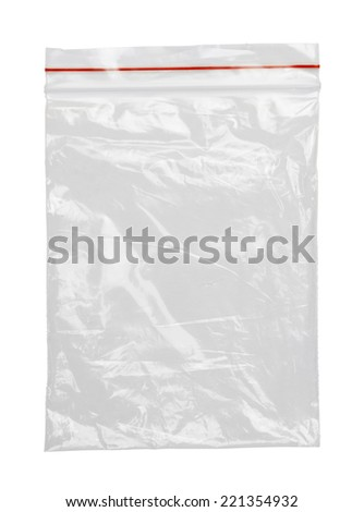 Clear Plastic Bag With Red Seal Isolated on White Background. - stock photo