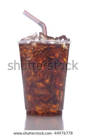 Clear Plastic Cup with Soda Ice and Straw isolated on white with reflection vertical format - stock photo