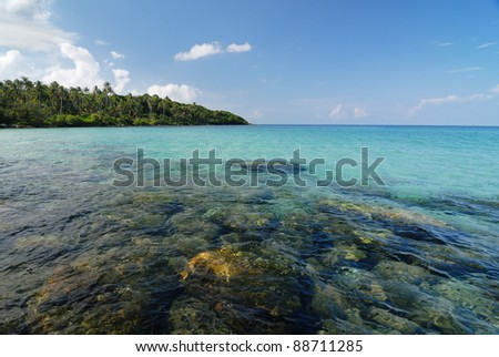 Clear sea on tropical beach. Siam bay. Province Trat. Koh kut Island state in Thailand