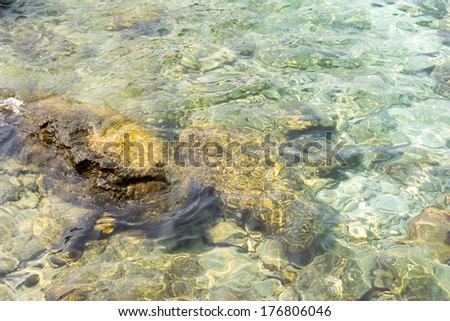 Clear sea water and stones  - stock photo