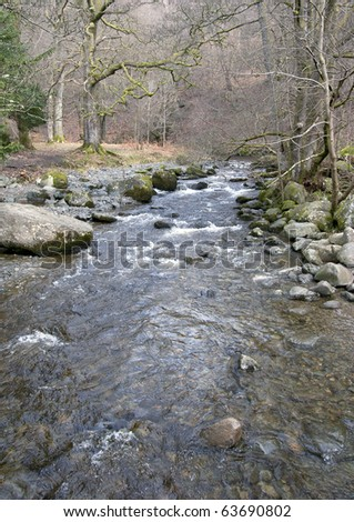 clear shallow river in winter