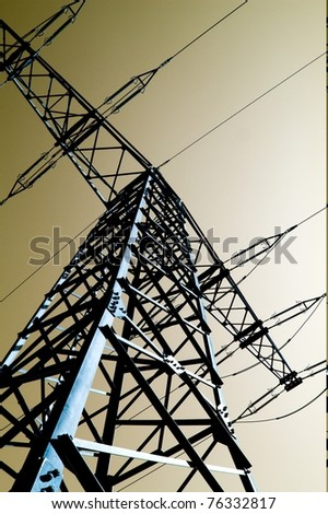 clear sky with power station - stock photo