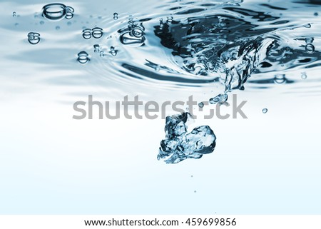 Clear splash under the water. Isolated on a white