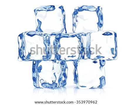 Clear transparent ice blocks composition - stock photo