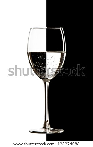 clear transparent water in the wine glass