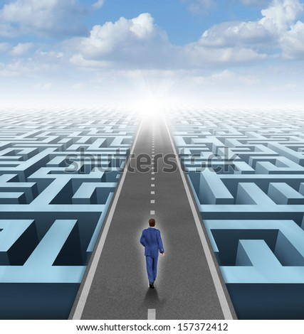 Clear vision leadership solutions and success concept as a businessman thinking outside the box and building a road bridge over a complicated maze cutting through the confusion with new thinking. - stock photo