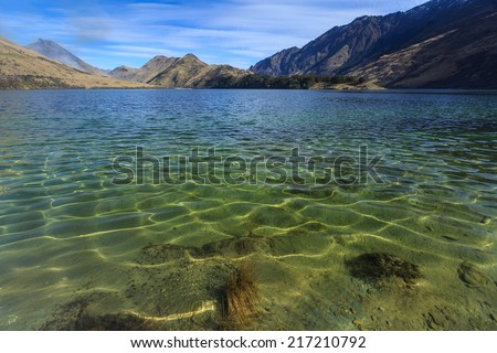 clear water at Moke Lake, Queenstown, New Zealand - stock photo