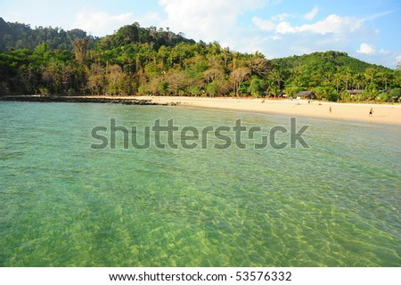clear water beach in Koh Mook, Trang, Thailand - stock photo