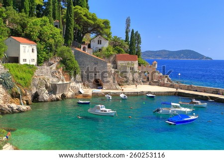 Clear water inside small harbor with traditional buildings and pier by the Adriatic sea, Trsteno, Croatia - stock photo