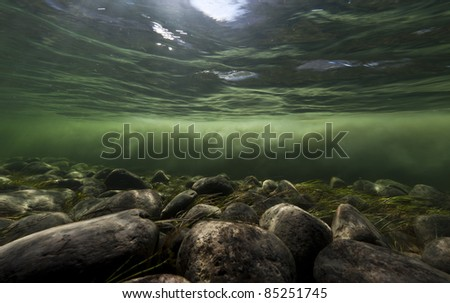 Clear water river and melting water river mixing under water, Sondrestrom (Kangerlussuaq), Greenland. - stock photo