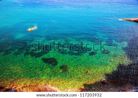 Clear water surface of the sea. Ibiza, Spain.