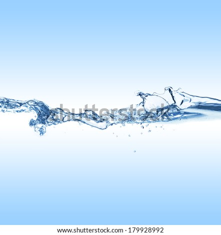 Clear water surface with ripple and bubble - stock photo